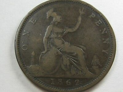 "RARE! 1862 Victoria Penny from Great Britain, F41, ""Half Penny"" Numerals in Date"