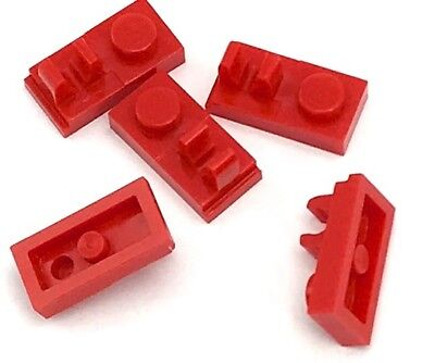Lego 5 New Red Plate Pieces Modified 1 x 2 with Handles on Sides Free Ends