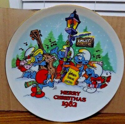 Smurf Merry Christmas 1982 plate-collectable