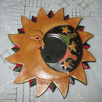 """Celestial Gold Sun Moon Stars Mirror Wall Plaque New Painted Wood Artsy 7 1/2"""""""
