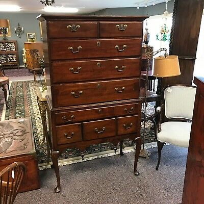 Circa 1700's 2 Part New England Queen Anne Maple Pine Flat Top Highboy