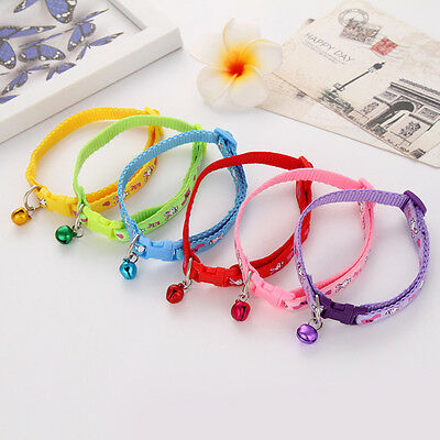 Lovely Pet Collar With Bell Nylon Fabric Cat Dog Collar Adjustable Strap Supply