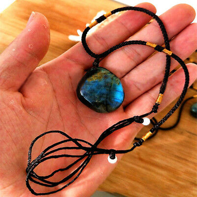1Pc Natural Crystal Labradorite Moonstone Pendant Drop Necklace Polished Charm