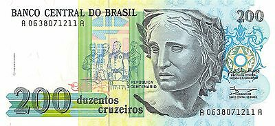 Brazil 200 Cruzeiros ND. 1990 P 229 Uncirculated Banknote NSF10K