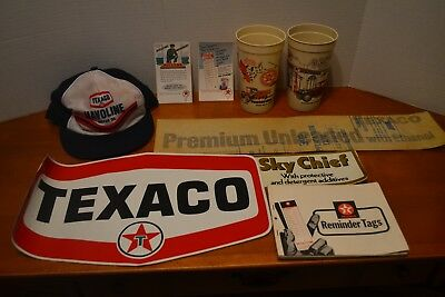 TEXACO Reminder tags 100 Sky Cheif sticker 2 Large Sticker 2 Post cards mancave