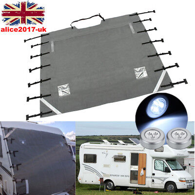 Caravan Front Towing Cover Protector Guard - Universal Free Led Lights - Grey