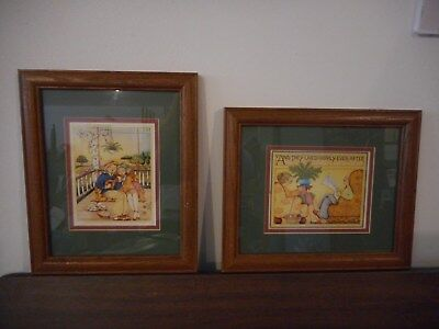 Set of 2 Mary Engelbreit Prints Picture Wood Frames Young Couple and Old Couple
