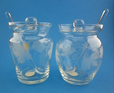 2 Vintage Irice GLASS SALT CELLARS With Spoons & Lids IRVING RICE Czechoslovakia
