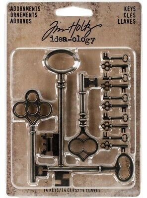 Tim Holtz Idea-ology 'KEYS' 14pc Metal Embellishments Scrapbooking/Cardmaking