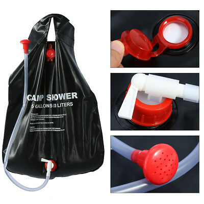 20L Outdoor Camping Hiking Solar Energy Heated Camp Shower Pipe Bag Portable GK