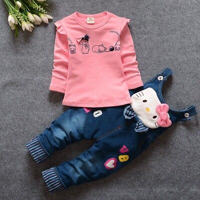 Spring autumn Baby Girls Clothing Set casual long-sleeved T-shirt+Denim jeans
