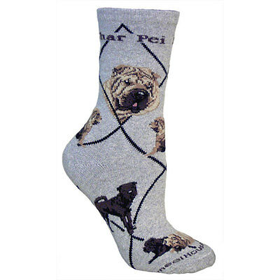 Shar Pei Dog Breed Gray Lightweight Stretch Cotton Adult Socks
