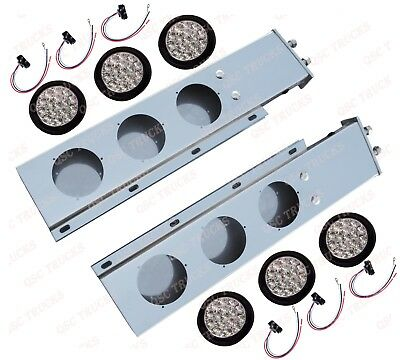 """QSC 2.5"""" Stainless Steel Spring Loaded Mud Flap Hanger Pair w/ 16 LED Lights"""