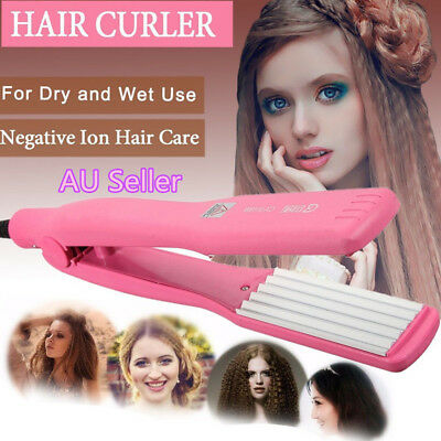 Hair Crimper Curler Iron Rollers Curling Anion Wave Wet/Dry Wand Styling Pink AU