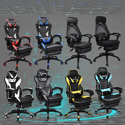 Video Computer Gaming Chair High Back Recliner w/ Footrest Racing Bucket Seat US