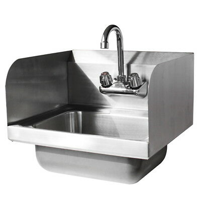 "New 17""Kitchen Stainless Steel Wall Mount Hand Sink w/ Faucet And Drain Strainer"