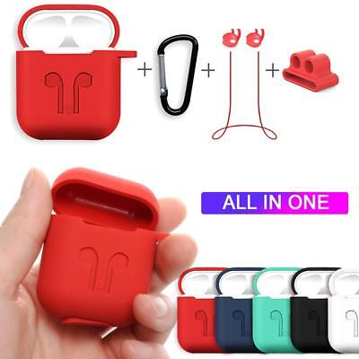 For Apple Air Pods Charging Silicone Case Cover + Earphone Anti Lost Strap Rope^
