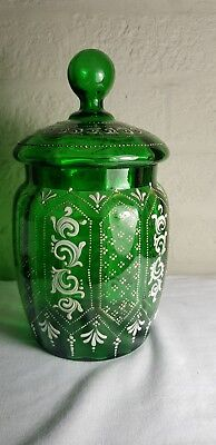 Beautiful Bohemian Green Glass Vase With Enamelled Flowers & Gilt Gold
