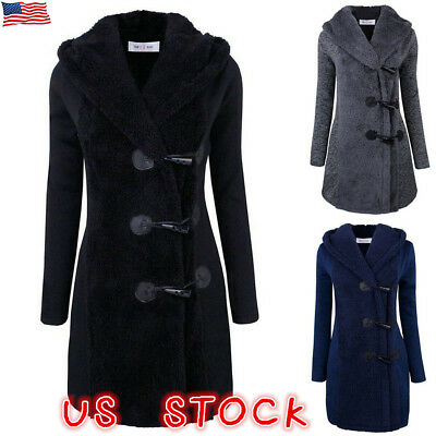 Plus Size Double-breasted Winter Coat Women Wool Jacket Hoody Parka Horn Button