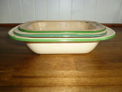 3 VINTAGE CREAM & GREEN ENAMEL WARE PIE or BAKING DISHES - good used cond