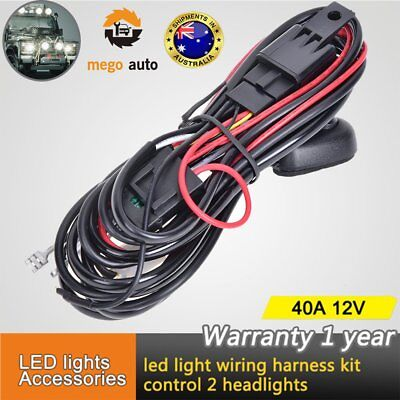 Wiring Harness Kit Loom For LED Work Driving Light Bar With Fuse Switch Relay AU