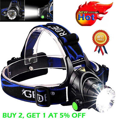 Tactical 30000LUMENS T6 LED Headlamp 18650 Headlight Head Lamp Torch Flashlight