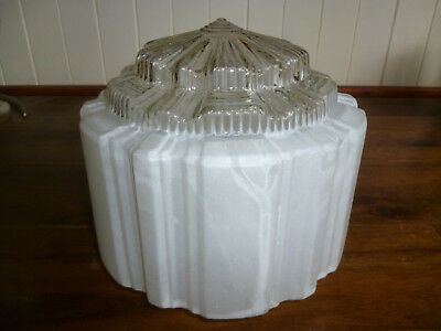 ANTIQUE BIG ART DECO FROSTED GLASS CEILING LIGHT SHADE - 21cm diameter - 1920s
