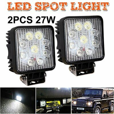 2x LED Flood Beam 27W Work Lights Lamp Tractor SUV Truck Boat 4WD 12V Square PS