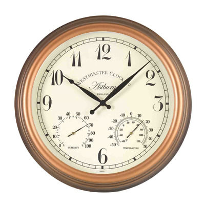 """Smart Garden Outside In Designs Astbury Outdoor Wall Clock and Thermometer 15"""""""