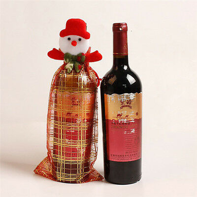 Christmas Red Wine Bottle Cover Bags Dinner Table Home Xmas Party Decoration Z