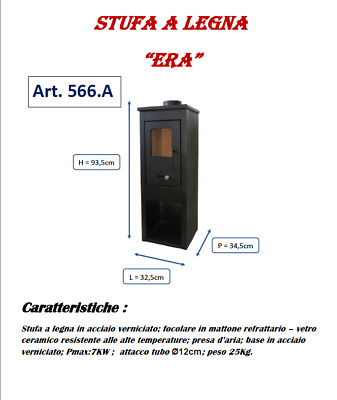 STUFA A LEGNA ERA 7Kw MADE IN ITALY