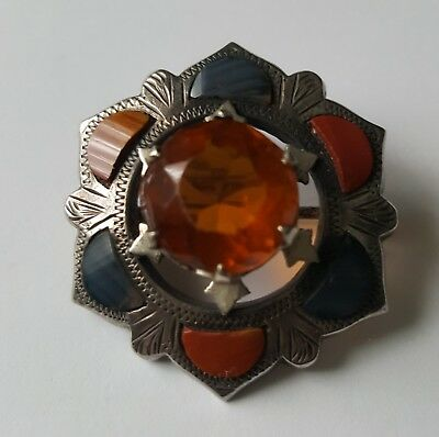 Antique Victorian Scottish Sterling Silver Citrine Agate Brooch Pin