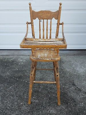 Antique Pressed Back Oak High Chair #1142