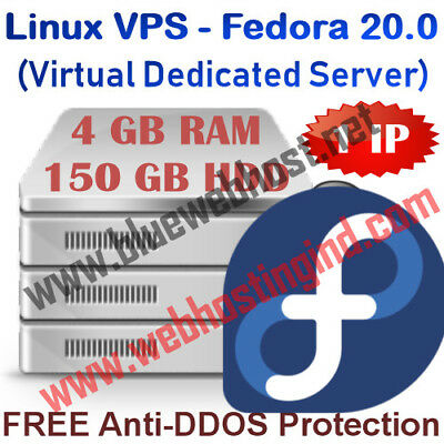 Linux VPS - Fedora 20.0 (Virtual Dedicated Server) 4GB RAM + 150GB HDD