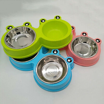 Dog Double Bowl Stainless Steel Puppy Cat Feeder Pet Food Water Dish Anti Slip Z