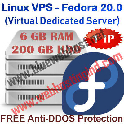 Linux VPS - Fedora 20.0 (Virtual Dedicated Server) 6GB RAM + 200GB HDD