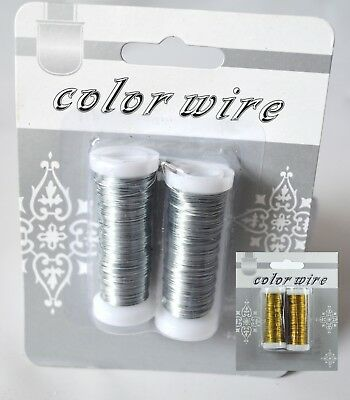 Silver or Gold Florist Wire x 2 reels 15 m bridal flowers binding beading