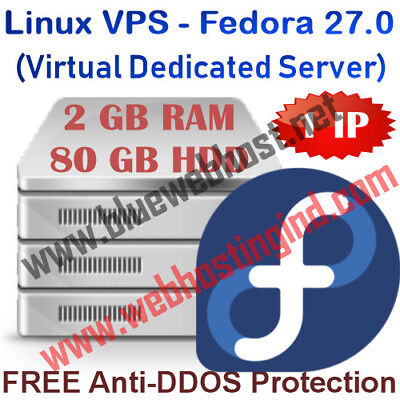 Linux VPS - Fedora 27.0 (Virtual Dedicated Server) 2GB RAM + 80GB HDD