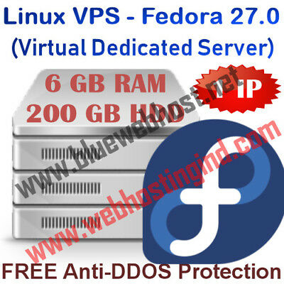 Linux VPS - Fedora 27.0 (Virtual Dedicated Server) 6GB RAM + 200GB HDD