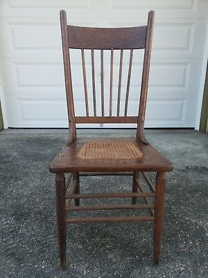Antique Oak Pressed Back Cane Seat Chair