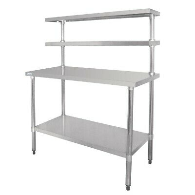 Vogue Work Table with Wall Shelf Stainless Steel 120cm Worktop