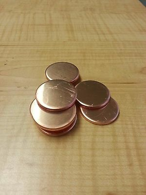 "1"" Dia. Copper Round Disc Blanks .125 1/8"" Thick (Lot of 10)"