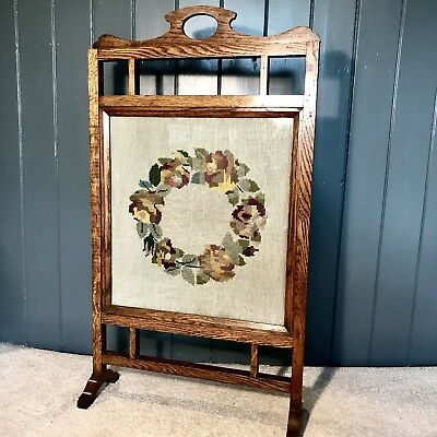 Edwardian tall wooden fire screen with nosegay posy cross stitch