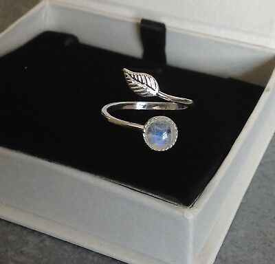 925 Sterling Silver Feather Ring Rainbow Moonstone Adjustable Midi Ring
