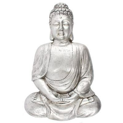 Large Matte Silver Effect Meditating Buddha Wall Plaque