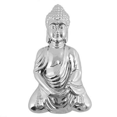 Medium Chrome Effect Meditating Buddha Wall Plaque