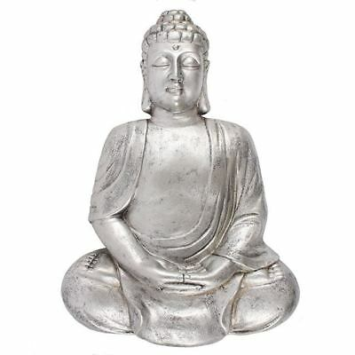 Medium Matte Silver Effect Meditating Buddha Wall Plaque