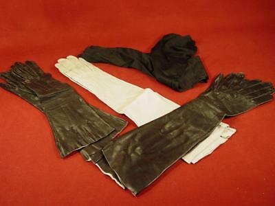 4 Pairs Vintage Womens Buttery Soft Long Leather Opera Gloves Black Sz 6 1/2