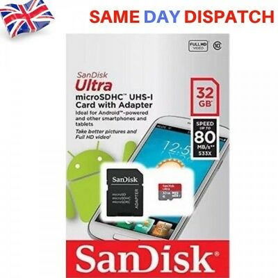 NEW Sandisk 32GB Ultra MicroSD SDHC Memory Card with Adapter UHS-I Class 10
