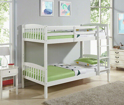 Natural Pine or White Single 3FT Kids Bunk Bed Wooden Frame Headboard Brand New